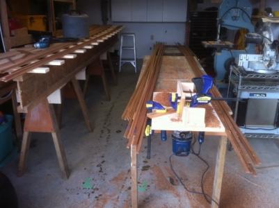 Prepping cedar strips