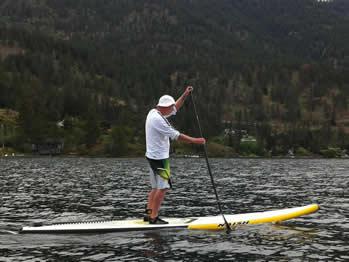 Bob Purdy paddling Lake Okanagan (photo: Joan Vienot/SUP Radio Show)